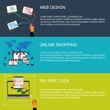 Vector Illustration des Webdesigns, on-line-Einkaufen, Pay per Click, Konzept in der flachen Art für Netz Stockfotos