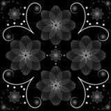Vector Illustration des weißen Blumenmusters über schwarzem Hintergrund Stockfoto