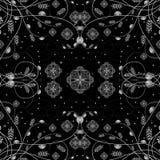 Vector Illustration des weißen Blumenmusters über schwarzem Hintergrund Lizenzfreies Stockbild