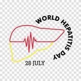 Vector Illustration des Welthepatitis-Tages für Fahnen- und Plakatsocial media-Schablone Lizenzfreie Stockfotos
