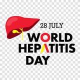Vector Illustration des Welthepatitis-Tages für Fahnen- und Plakatsocial media-Schablone Lizenzfreie Stockfotografie