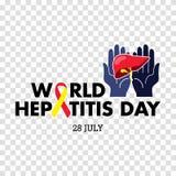 Vector Illustration des Welthepatitis-Tages für Fahnen- und Plakatsocial media-Schablone Stockfotos