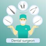 Vector Illustration des Zahnarztes mit defferent zahnmedizinischen Instrumenten O stockfoto
