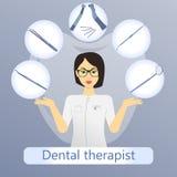 Vector Illustration des zahnmedizinischen Therapeuten mit defferent zahnmedizinischen Instrumenten lizenzfreie stockfotografie