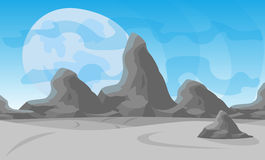 Vector illustration. Desert landscape with a chain of high mountains on the horizon Stock Image