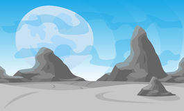 Vector illustration. Desert landscape with a chain of high mountains on the horizon. On background big moon Stock Photos