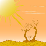 Vector illustration of a desert symbolizing the struggle. Vector illustration of dry trees in the desert symbolizing the struggle for life in nature Stock Photo
