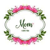 Vector illustration design of card love mom with elegant pink flower frames royalty free illustration