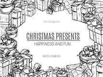 Vector illustration design gift boxes with bows and ribbons.Hand drawn sketch Stock Image