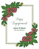 Vector illustration design of happy engagement with red flowers and blooming blossoms royalty free illustration