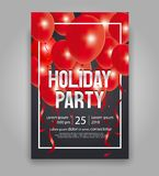 Happy new year party invitation flyer and greeting card  template. Vector illustration  design for holiday party and happy new year party invitation flyer and Royalty Free Stock Photos