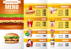 Vector illustration design menu fast food restaurant. Brochure template Stock Photography