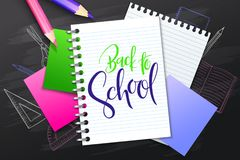 Vector illustration with design template for Back to school event banner with pencils, notebook, paper pages, stickers. And Back to School hand lettering label vector illustration