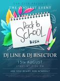 Vector illustration with design template for Back to school event poster with pencils, detailed bright autumn leaves and. Back to School hand lettering label on royalty free illustration