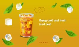 Vector illustration design template in realism style about iced tea Stock Image