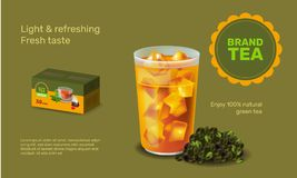 Vector illustration design template in realism style about iced tea Stock Photo