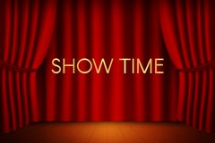Theater stage with curtain and show time inscription. Vector ill. Vector illustration design. Theater stage with curtain and show time inscription Stock Image