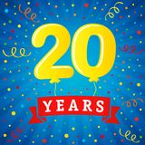 20 years anniversary celebration with colored balloons & confetti. Vector illustration design for your Celebration party the 20th years template numbers Royalty Free Stock Photos