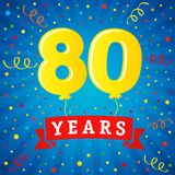 80 years anniversary celebration with colored balloons & confetti. Vector illustration design for your Celebration party the 80th years template numbers Royalty Free Stock Photography
