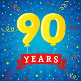 90 years anniversary celebration with colored balloons & confetti Royalty Free Stock Photos