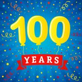 100 years anniversary celebration with colored balloons & confetti. Vector illustration design for your Celebration party the 100th years template numbers Stock Photos