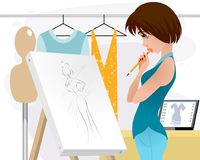 Designer clothing in the workplace. Vector illustration of designer clothing in the workplace Stock Image