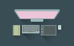 Vector illustration of designer working desk Royalty Free Stock Photography