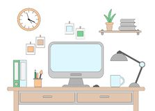 Vector illustration of desk with a computer. Workplace in office or at home drawn in flat style. Vector illustration of desk with a computer. Workplace in stock illustration