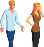 Begging For Forgiveness. Vector illustration of a desperate blond man begging his unresponsive, reluctant wife for forgiveness Royalty Free Stock Photos