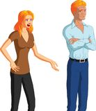 Begging For Forgiveness. Vector illustration of a desperate blonde woman begging her unresponsive, reluctant husband for forgiveness Royalty Free Stock Photo