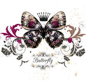 Vector illustration with detailed butterfly in vintage style Stock Photography