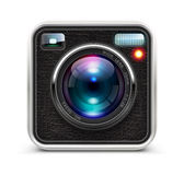 Photo camera. Vector illustration of detailed icon representing cool photo camera with lens Royalty Free Stock Photos