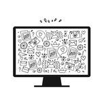 Vector illustration of detailed isolated image of monitor with many cute details. Screen Royalty Free Stock Image
