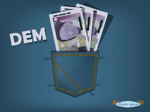 Vector illustration of deutsche mark in the pocket of blue jeans Stock Photography