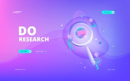 Do research web banner. Vector illustration of developers in spacesuits doing research through big magnifying glass in space. Hero image and web banner design Stock Image