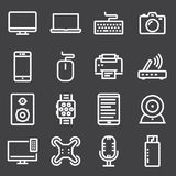 Device Icons. Editable Pack Of Cursor Controller, Web Camera, Watch And Other Elements. Vector Illustration Of 16 Device Icons. Editable Pack Of Cursor stock illustration