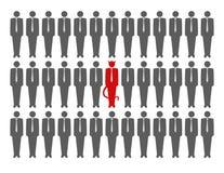 Vector illustration of devil in crowd. Of businessmen stock illustration