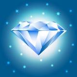 Vector illustration of diamond blue crystal. Jewerly vector illustration