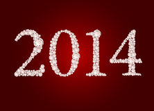 Vector illustration of diamond 2014 year. On red background Royalty Free Stock Photo