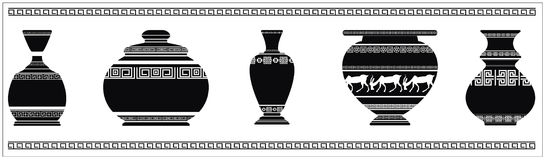 Vector Illustration of different ancient vases. Set of ancient greek vases with geometric ornaments Stock Images