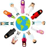 Vector illustration of different arab children, people on planet earth Royalty Free Stock Photography