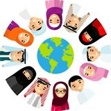 Vector illustration of different arab children, people on planet earth Royalty Free Stock Image