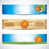 Set of basketball banners. Vector illustration of different banners with basketball hoop and ball.Sport concept banners Stock Image