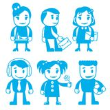 Different characters in blue color stock illustration