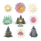 Vector illustration of different christmas trees with firework. Vector illustration of different christmas trees with firework Royalty Free Stock Photo