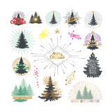 Vector illustration of different christmas trees with firework. Stock Images