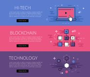Blockchain technology banner Stock Photos