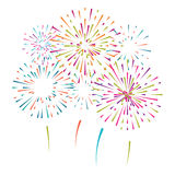 Vector illustration with different colorful fireworks Stock Photos