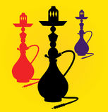 Vector illustration of different colors hookahs Royalty Free Stock Image