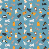 Vector illustration of different dogs breed seamless pattern. Stock Image